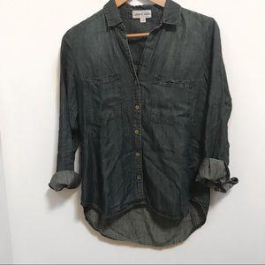 Cloth & Stone Chambray Weathered Tencel Shirt-XS